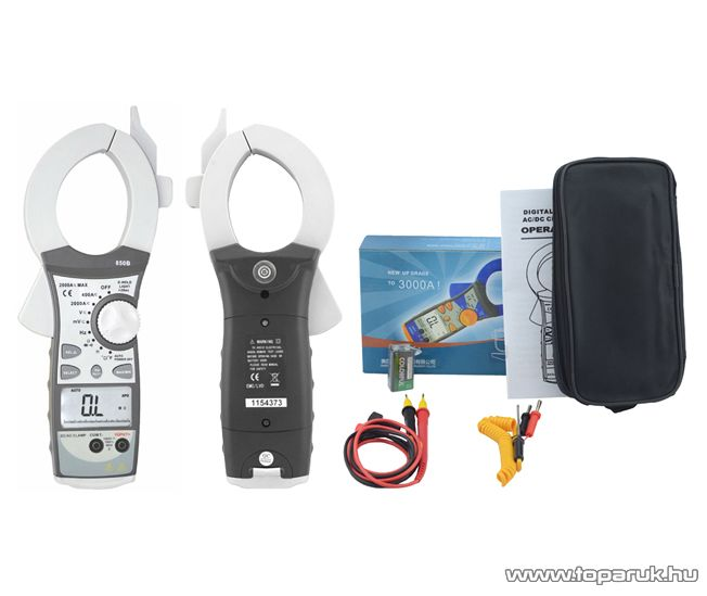 HOLDPEAK 850B Nagyáramú (400/2000A) 2 kijelzős lakatfogó, multiméter, VDC, VAC, ADC, AAC, ellenállás, kapacitás és frekvencia mérőműszer