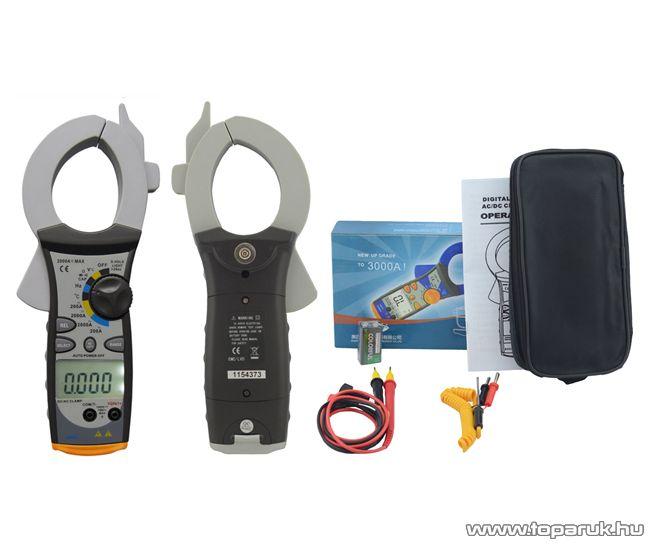 HOLDPEAK 850D Nagyáramú (200/2000A) 2 kijelzős lakatfogó, multiméter, VDC, VAC, ADC, AAC, ellenállás, kapacitás és frekvencia mérőműszer