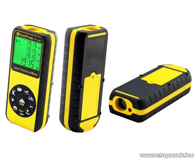 HOLDPEAK 3040 Digitális, lézeres távolságmérő mérőműszer, memória, terület / térfogat és háromszög, 0.03 - 40 m