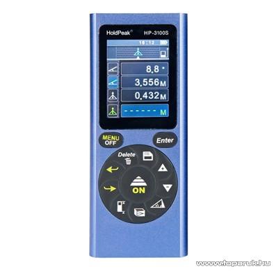 HOLDPEAK 3100S Digitális, lézeres távolságmérő, 2 col-os LCD kijelzővel, 0.03-100m, memória, terület, térfogat és háromszög mérőműszer