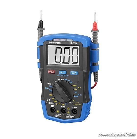 HOLDPEAK 37B Digitális multiméter, VDC, VAC, ADC, AAC, ellenállás, kapacitás, hőmérséklet, dióda mérőműszer