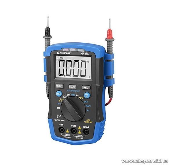 HOLDPEAK 37C Digitális multiméter, VDC, VAC, ADC, AAC, ellenállás, kapacitás, hőmérséklet, frekvencia, TRMS mérőműszer