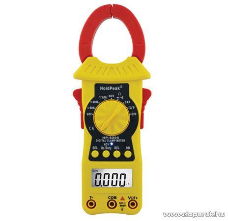 HOLDPEAK 6205 Digitális lakatfogó, multiméter, nagyáramú, VDC, VAC, ADC, AAC, ellenállás és kapacitás mérőműszer
