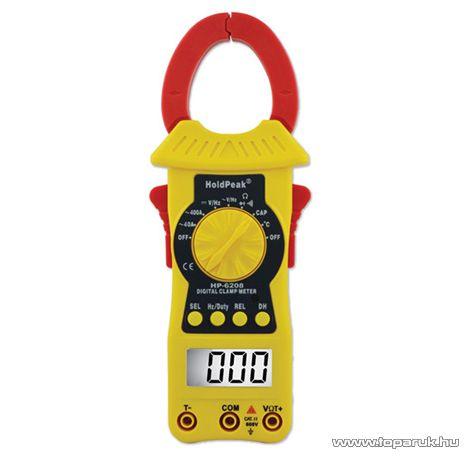 HOLDPEAK 6208 Digitális lakatfogó, multiméter, nagyáramú, VDC, VAC, AAC, ellenállás, kapacitás és hőmérséklet mérőműszer - megszűnt termék: 2015. február