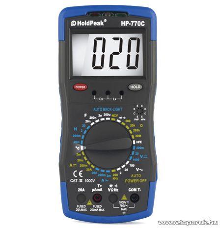 HOLDPEAK 770C Digitális multiméter, VAC, VDC, AAC, ADC, ellenállás, kapacitás és induktivitás mérő, feszültség kereső mérőműszer
