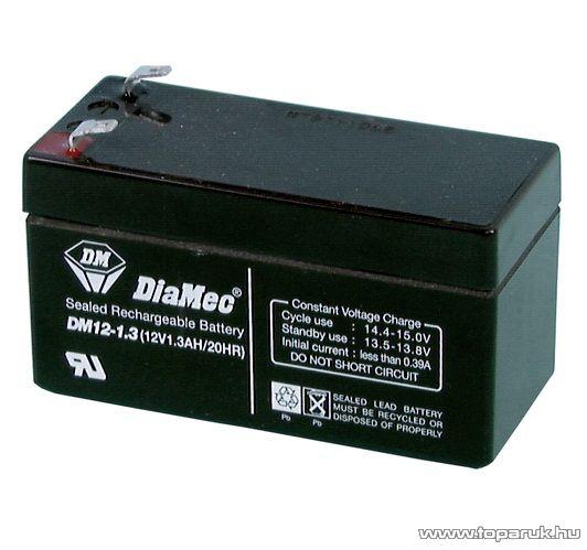 DiaMec 12V, 1,3Ah Zselés, ólom akkumulátor, gondozásmentes szünetmentes akku