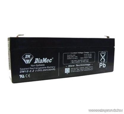 DiaMec 12V, 2,2Ah Zselés, ólom akkumulátor, gondozásmentes szünetmentes akku