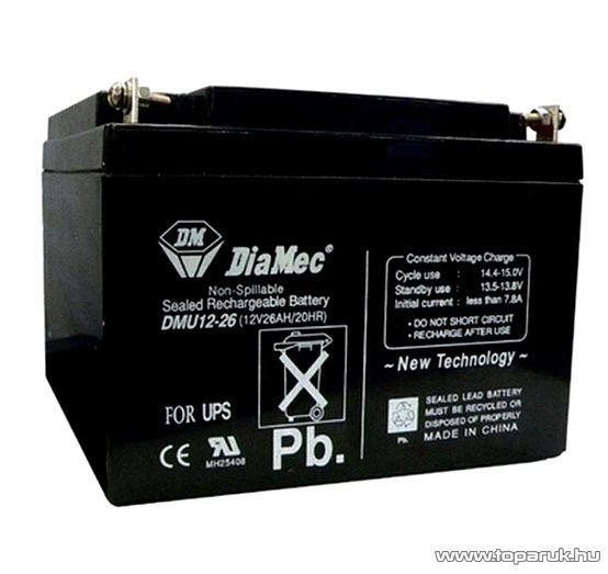 DiaMec 12V, 26Ah Zselés, ólom akkumulátor, gondozásmentes szünetmentes akku