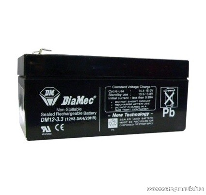DiaMec 12V, 3,3Ah Zselés, ólom akkumulátor, gondozásmentes szünetmentes akku