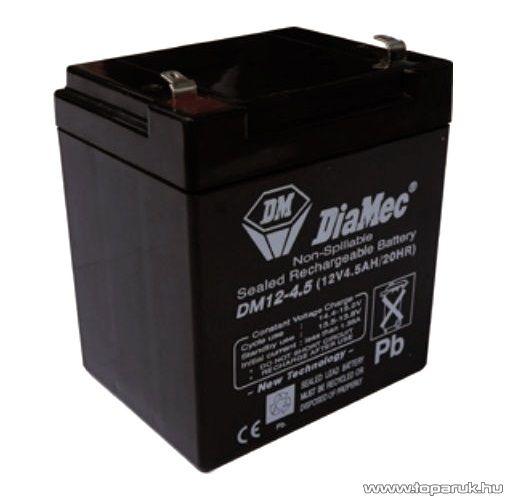 DiaMec 12V, 4,5Ah Zselés, ólom akkumulátor, gondozásmentes szünetmentes akku