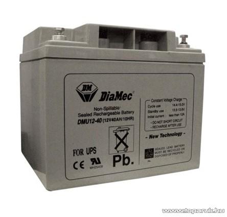 DiaMec 12V, 40Ah Zselés, ólom akkumulátor, gondozásmentes szünetmentes akku