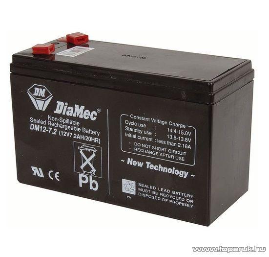DiaMec 12V, 7Ah Zselés, ólom akkumulátor, gondozásmentes szünetmentes akku