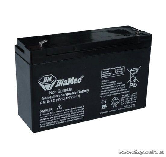 DiaMec 6V, 12Ah Zselés, ólom akkumulátor, gondozásmentes szünetmentes akku