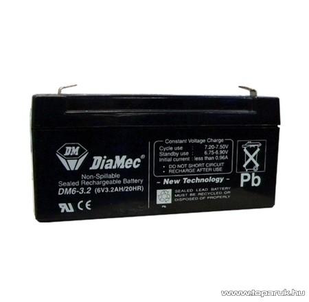 DiaMec 6V, 3,3Ah Zselés, ólom akkumulátor, gondozásmentes szünetmentes akku