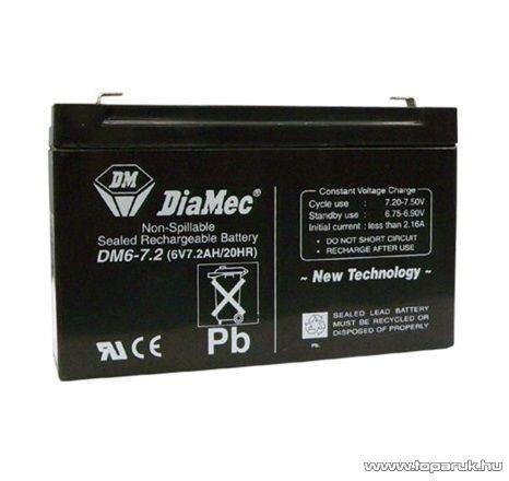 DiaMec 6V, 7,2Ah Zselés, ólom akkumulátor, gondozásmentes szünetmentes akku