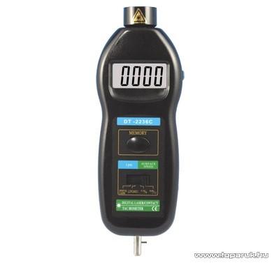 HOLDPEAK 2236C Digitális mechanikai és lézeres optikai fordulatszám mérő mérőműszer + tartozéktartó doboz (0.5-99999RPM)