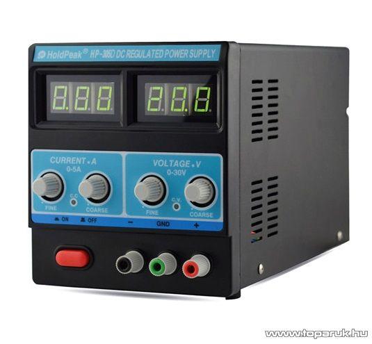 HOLDPEAK 305D Stabilizált labor tápegység, egycsatornás, 0-30VDC, 0-5A, digitális kijelzéssel