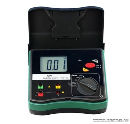HOLDPEAK 4200 Digitális földelési ellenállásmérő mérőműszer LCD kijelzővel + hord táska, 0-2000ohm, 0-30V mérési feszültség, földelőrúd