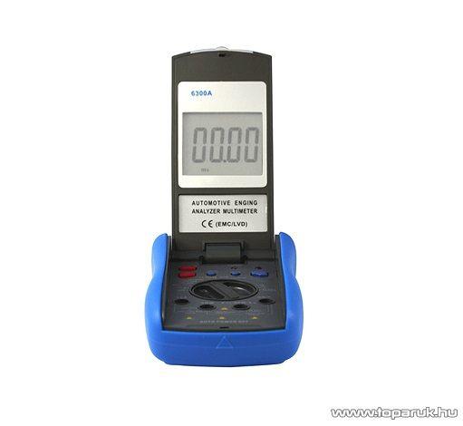 HOLDPEAK 6300A Gépjármű diagnosztikai mérő műszer (akkumulátoros), 4-5-6-8 henger-es autókhoz, RPM, zárási szög, impulzus és hőmérséklet mérés