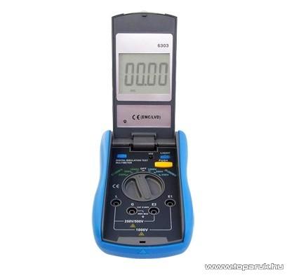 HOLDPEAK 6303 Digitális szigetelési ellenállásmérő mérőműszer + hord táska, 250-1000VAC, 0.1Mohm-2000Mohm - megszűnt termék: 2016. január