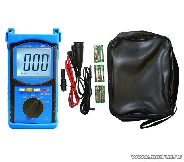 HOLDPEAK 6688C Digitális szigetelési ellenállás mérő mérőműszer + szövet hord táska, 100-1000VAC, 1Mohm-20Gohm