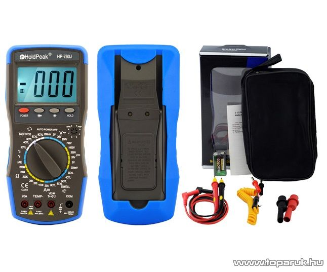 HOLDPEAK 760J Gépjármű diagnosztikai mérő műszer, 3-4-5-6-8 hengeres autókhoz, RPM, zárási szög, impulzus és hőmérséklet mérésre