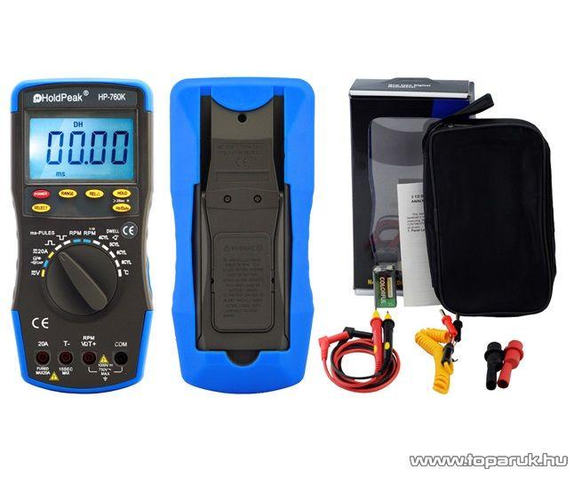 HOLDPEAK 760K Gépjármű diagnosztikai mérő műszer, 4-5-6-8 hengeres autókhoz, fordulatszám, zárási szög és impulzus mérésére