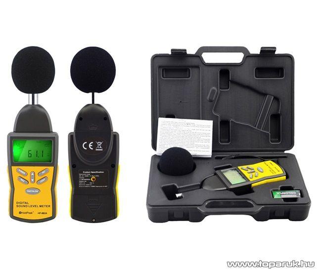 HOLDPEAK 882A Digitális zajszintmérő mérőműszer kofferben, 30-130dBA, 35-130dBC, számjegyes és bargraph megjelenítés funkcióval