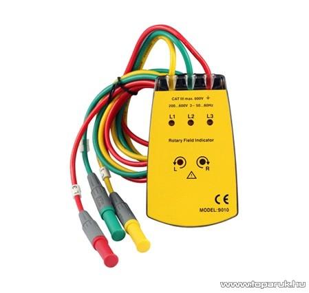 HOLDPEAK 9010 (HP-701) Háromfázisú fázissorrend és forgásirány tesztelő mérőműszer + krokodilcsipesz, 200-600VAC