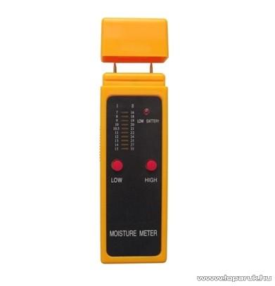 HOLDPEAK MD-2GA Fa nedvességtartalom mérő mérőműszer, LED-es kijelzés, kétszintű mérés, kimerülő elem jelzés funkciókkal