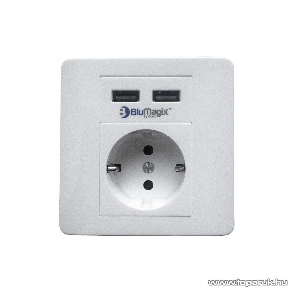 BluMagix BM-WS2U Földelt fali konnektor, 2 USB csatlakozóval, fehér