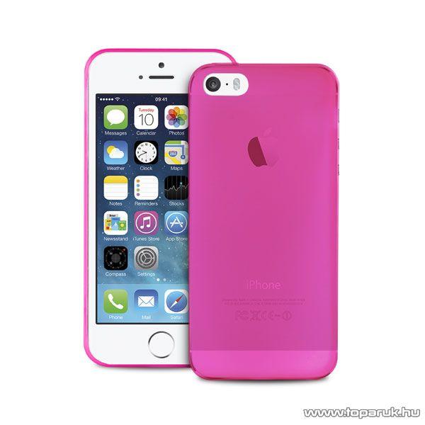 PURO iPhone SE / 5 / 5s Ultra Slim ultravékony okostelefon tok + képernyővédő fólia, 0.3mm, rózsaszín (pink)