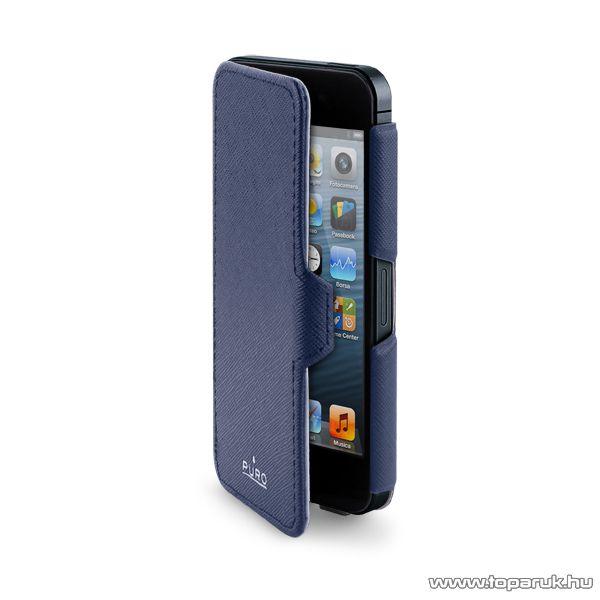 PURO iPhone SE / 5 / 5s Ultra slim ultravékony okostelefon flip bőrtok, kék