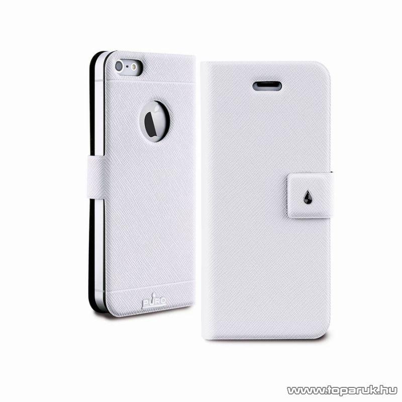 PURO iPhone SE / 5 / 5s Ultra slim (ultravékony) okostelefon könyv bőrtok, fehér