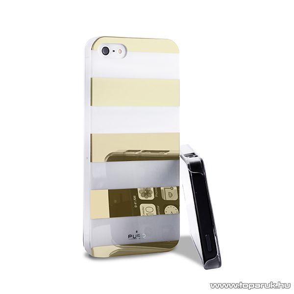 PURO iPhone SE / 5 / 5s okostelefon tok, csíkos, arany/fehér