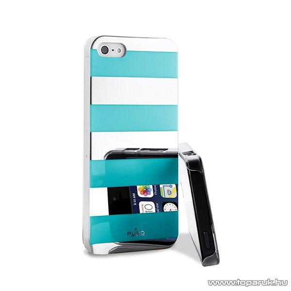 PURO iPhone SE / 5 / 5s okostelefon tok, csíkos, ezüst/világos kék