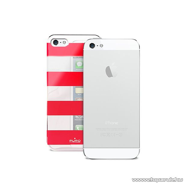 PURO iPhone SE / 5 / 5s okostelefon tok, csíkos, ezüst/piros