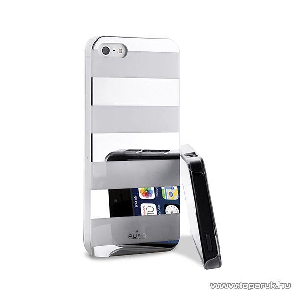 PURO iPhone SE / 5 / 5s okostelefon tok, csíkos, ezüst/fehér