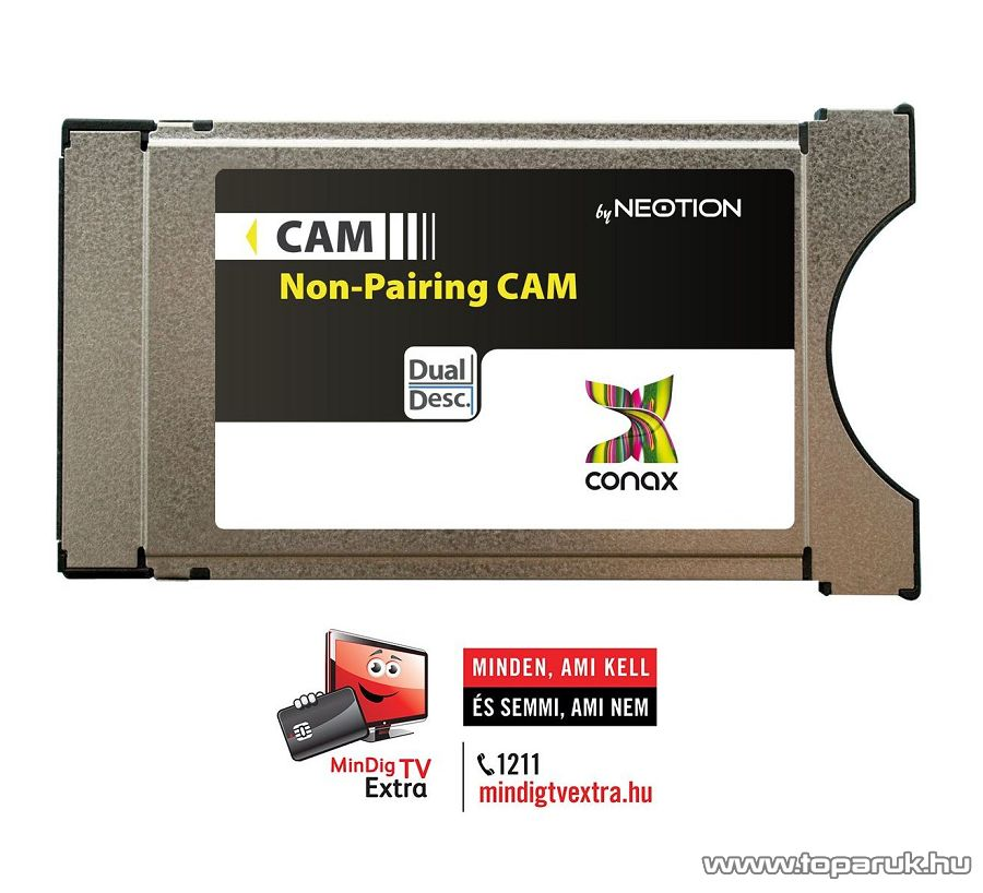 NEOTION DVB-CI Conax CAM modul + 1 éves MinDigTV Extra (Alap) kártya - megszűnt termék: 2015. június