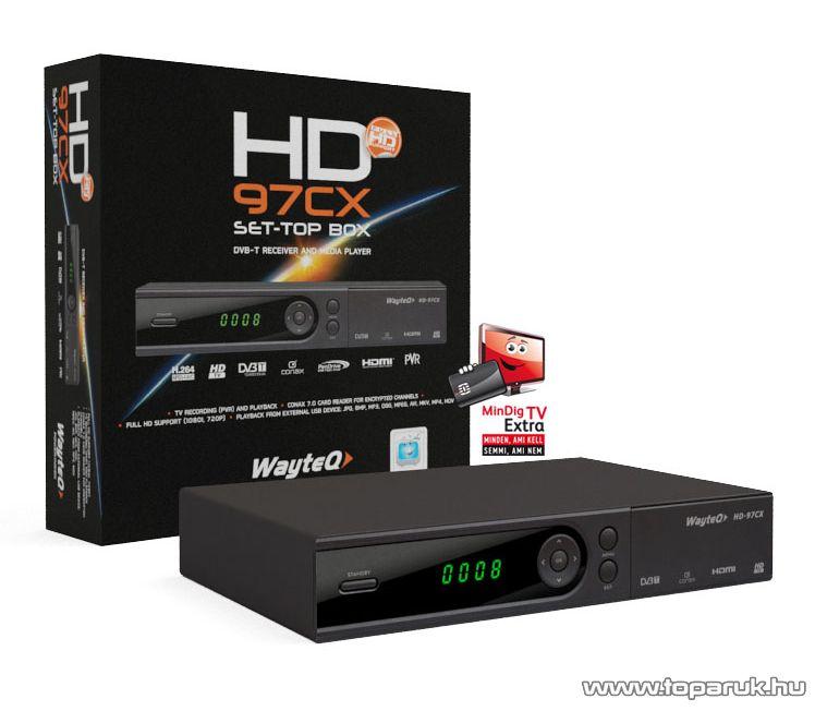 Wayteq HD-97CX Set Top Box DVB-T vevő és Médialejátszó egyben + 12 hónapos MinDigTV Extra kártya - megszűnt termék: 2015. július