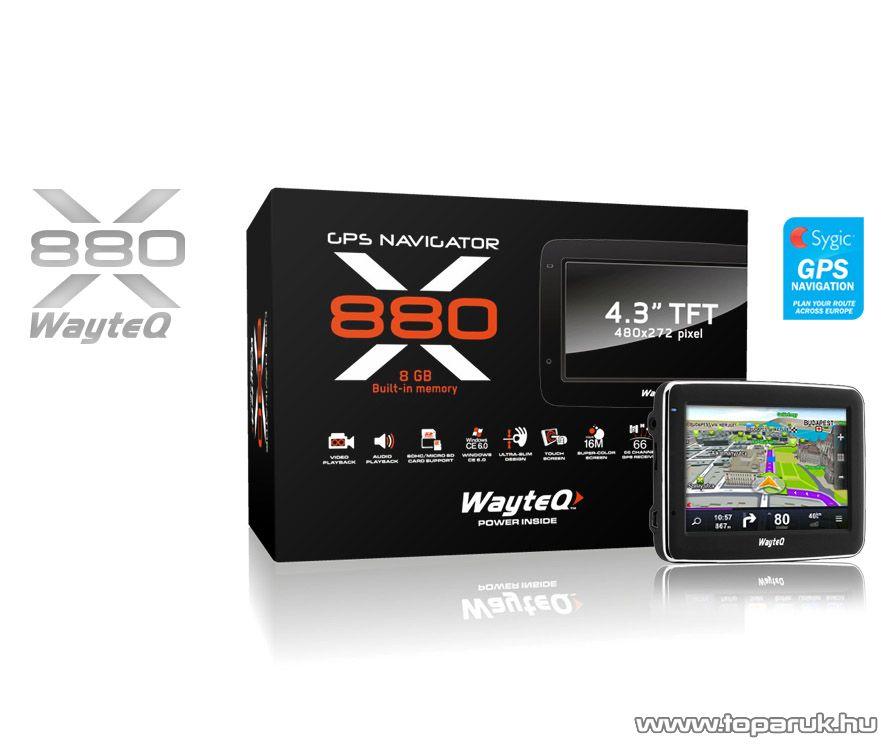 """WayteQ x880 3D EU 4.3""""-os GPS navigáció, 8GB + Sygic GPS Navigation Teljes Európa térképszoftver - megszűnt termék: 2015. június"""
