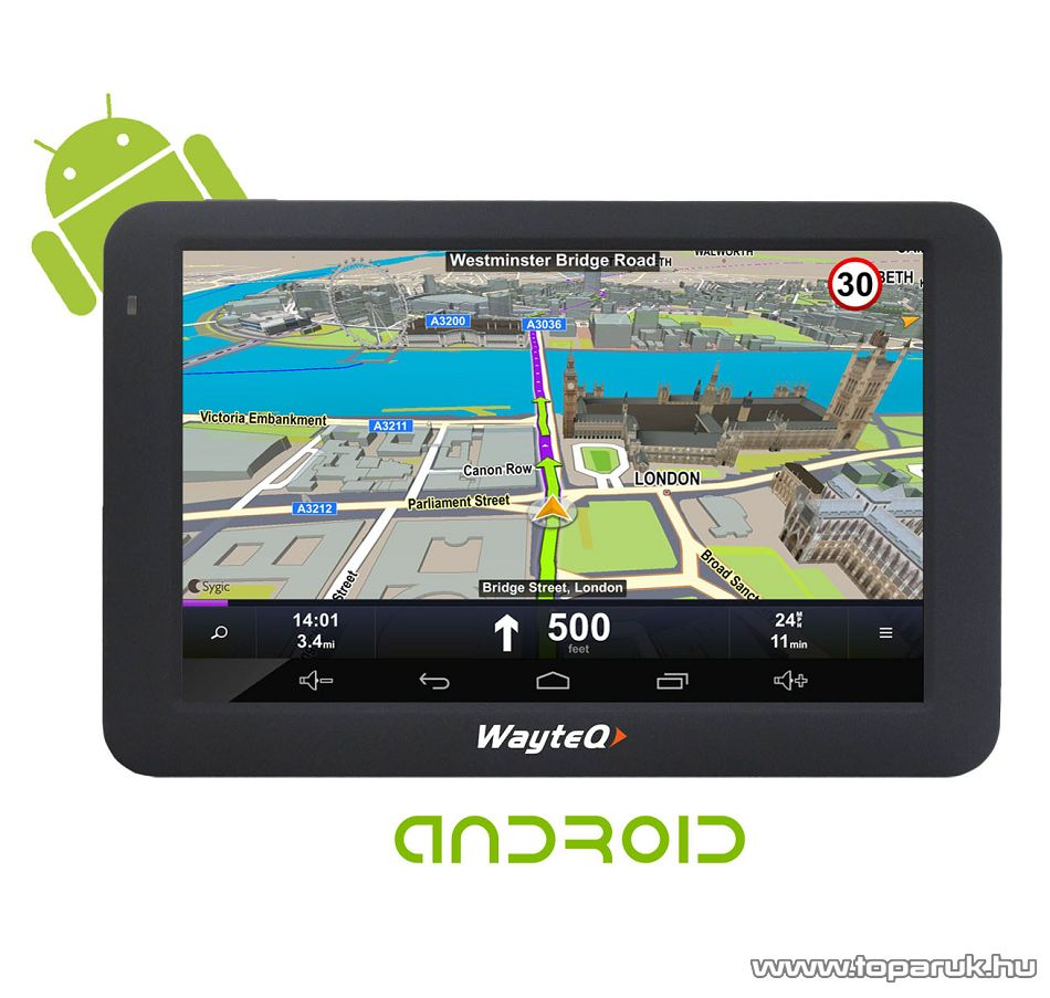"""WayteQ X995BT Android 5""""-os GPS navigáció készülék, 8 GB + Sygic 3D Teljes Európa térképszoftverrel (élettartam frissítéssel)"""