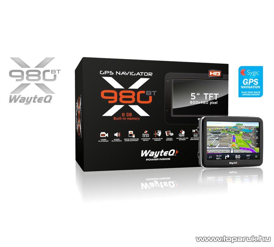 """WayteQ X980BT 5""""-os 3D EU GPS navigáció, 8GB + Sygic GPS Navigation Teljes Európa térképszoftver - megszűnt termék: 2015. szeptember"""