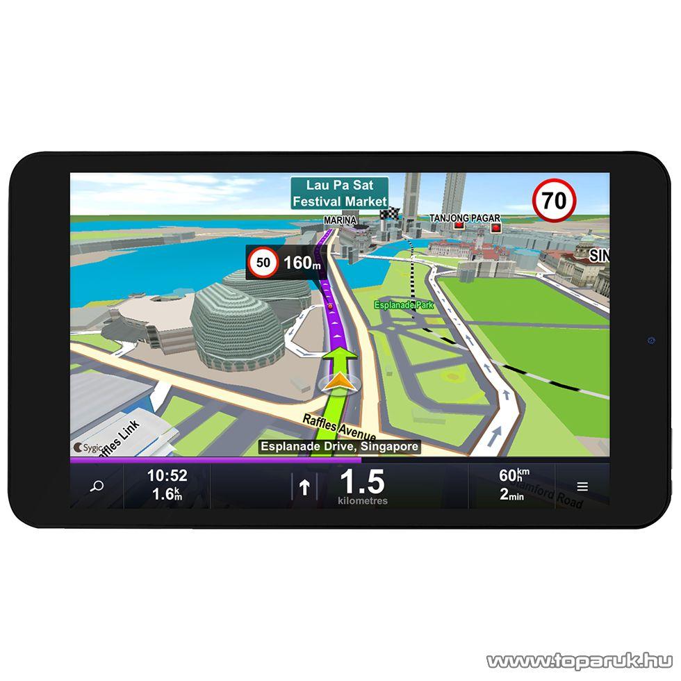 """WayteQ xTAB-8Q 8""""-os IPS tablet, 8GB, fekete (Android) + Sygic 3D Navigation for Android VOUCHER Teljes Európa TeleAtlas térképpel, 44 ország - készlethiány"""