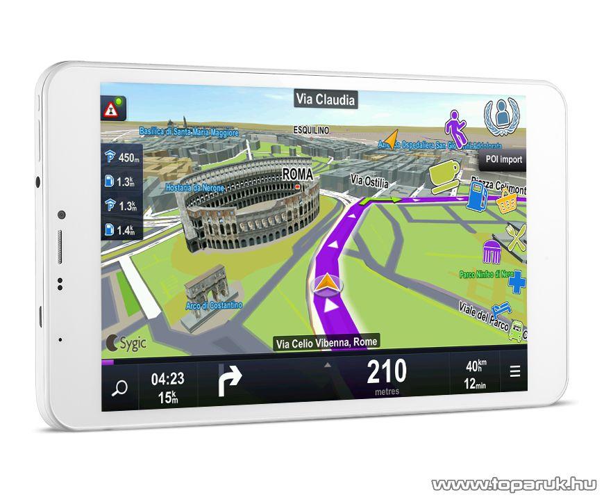 """WayteQ xTAB 8X Quad 8""""-os IPS tablet, 8GB, fehér (Android) + Sygic 3D Navigation for Android VOUCHER Teljes Európa TeleAtlas térképpel, 44 ország - megszűnt termék: 2016. január"""