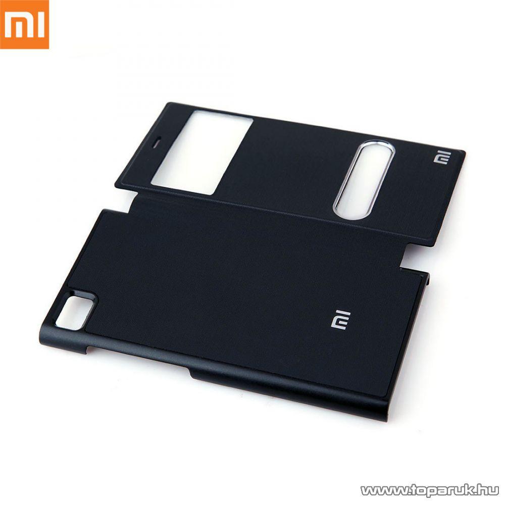 Xiaomi Mi3 ablakos mobiltelefon flip tok, utángyártott, fekete - megszűnt termék: 2015. október