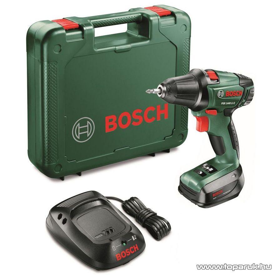 Bosch PSB 1440 LI-2 Kétfokozatú, lítium-ion akkumulátoros ütvefúró csavarozó, kofferben