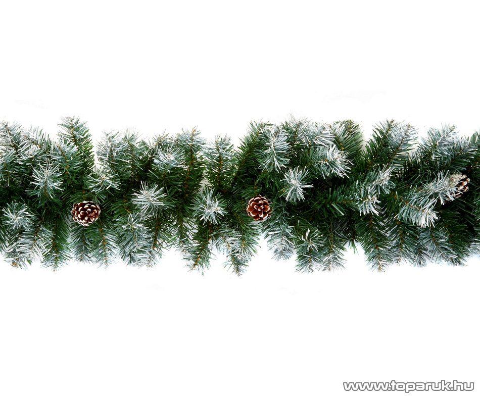 EVERSNOW Fenyő girland toboz és műhó dekorációval, 270 cm (KGR 270)