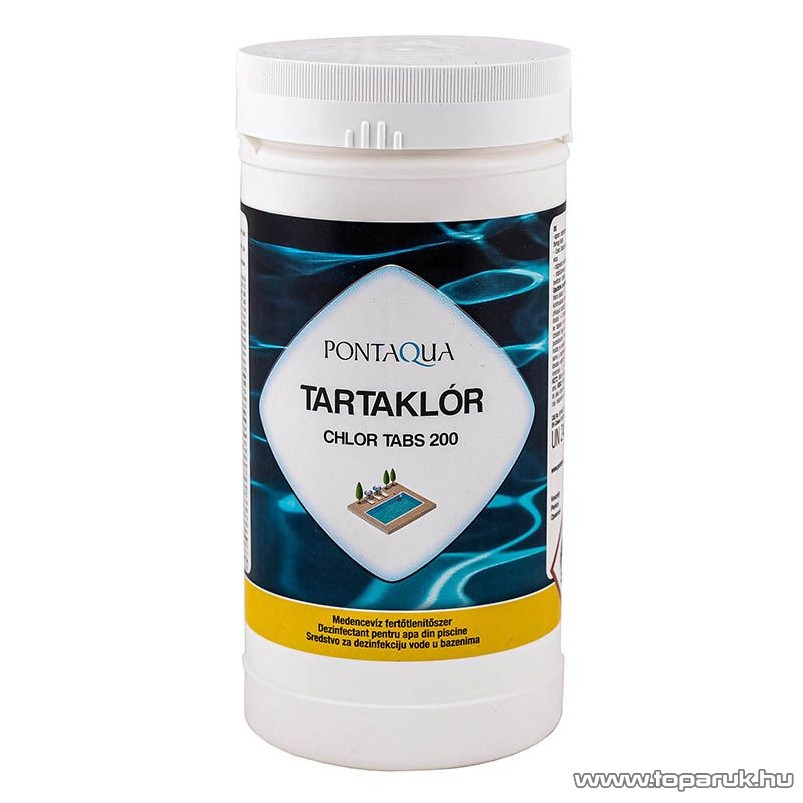 PoolTrend / PontAqua CHLOR TABS 200 (tartaklór) medence fertőtlenítő tabletta, klóros, 1 kg (5 db tabletta)