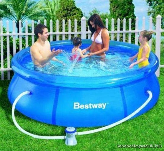 Bestway KRÉTA PLUSZ puhafalú kerti medence vízforgatóval, 274 x 76 cm - készlethiány